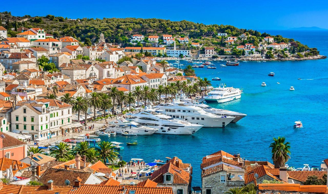 hvar island cruise port in croatia